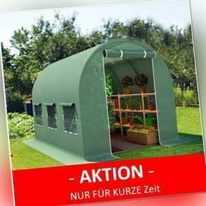 2,5x4m Gewächshaus Foliengewächshaus Folienzelt Tomatenhaus Frühbeet Tunnel grün