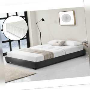Kunstlederbett mit Matratze Polsterbett Doppelbett Lattenrost 140x200cm Schwarz