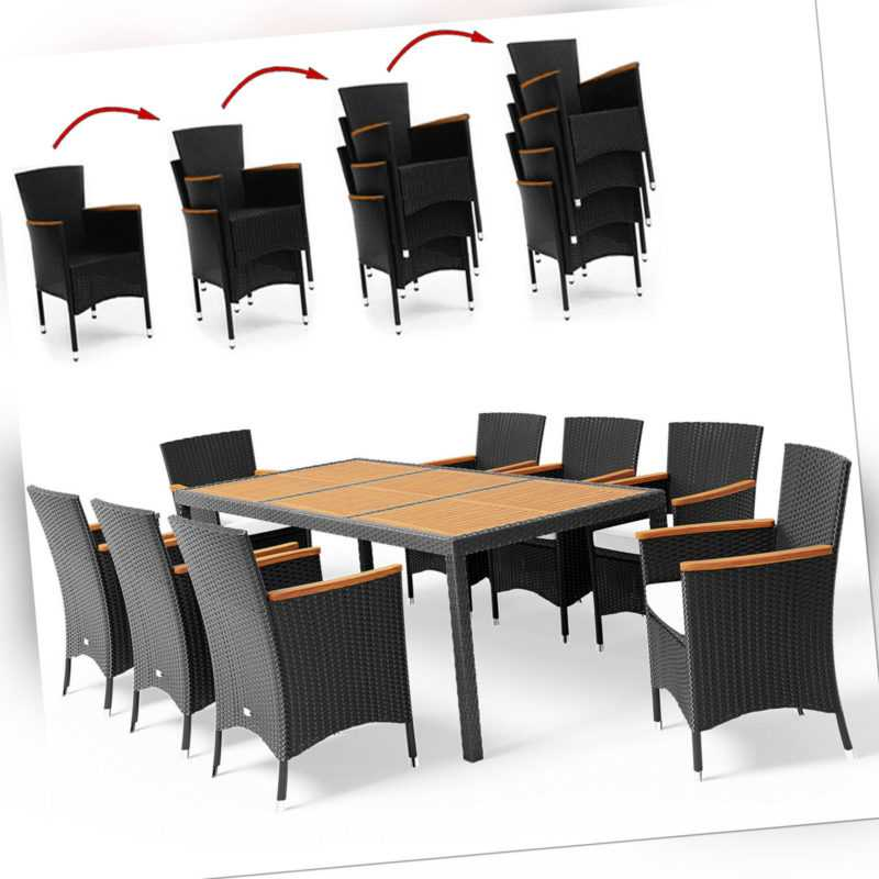 Sitzgruppe Gartenmöbel Sitzgarnitur Essgruppe Poly Rattan Akazie Holz Garten 8+1
