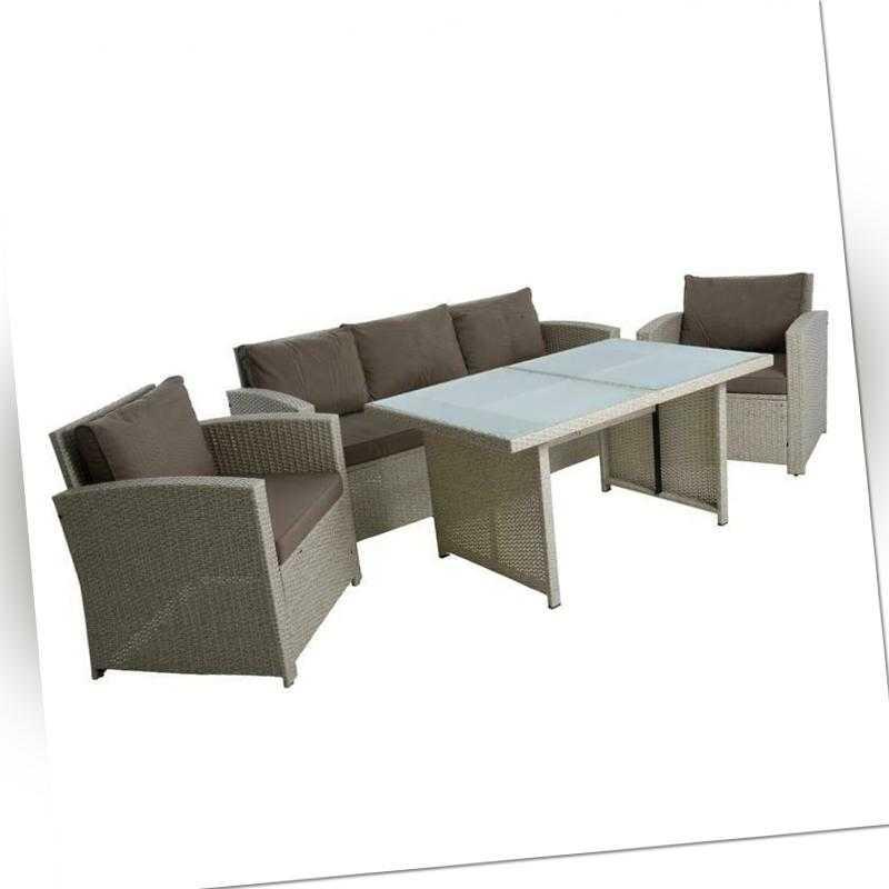 Polyrattan Sitzgruppe Gartenmöbel Set Rattanlounge Lounge Set Essgruppe Beige