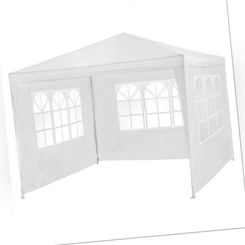 Pavillon Garten Party Camping Fest Event Zelt mit Seitenteile 3x3 m weiss B-Ware