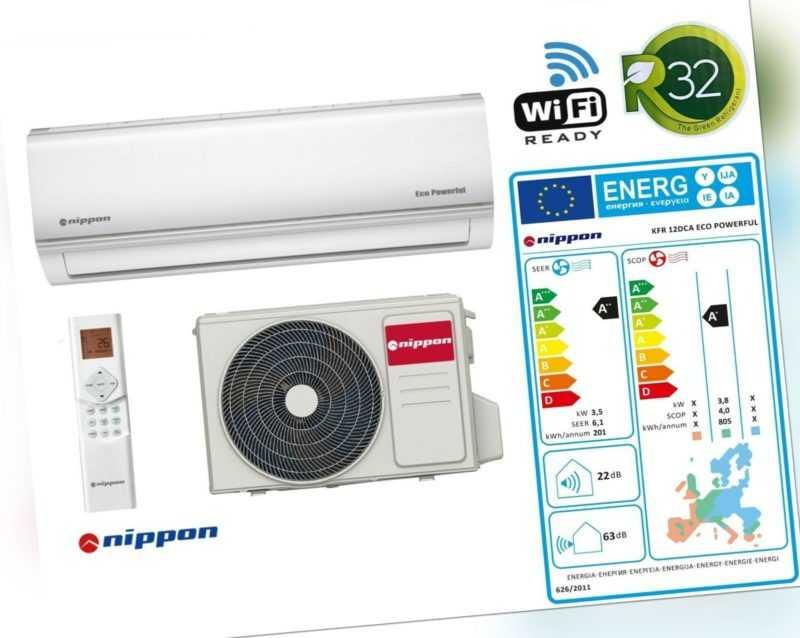 Klimaanlage nippon 12000BTU 3,5kW R32 WiFi Ready Split Klimaanlage ohne Zubehör