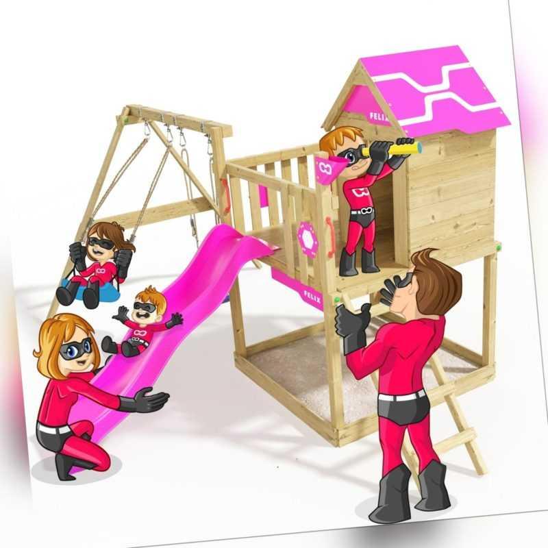 Spielturm Klettergerüst Brilliant Heroows - Spielhaus mit violetter Rutsche