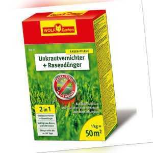 WOLF - Rasendünger mit Unkrautvernichter 1kg für 50qm - SQ50