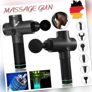 30 Modi LCD Massage Gun Massagepistole Massager Muscle Massagegerät+ 6 Köpfe DHL