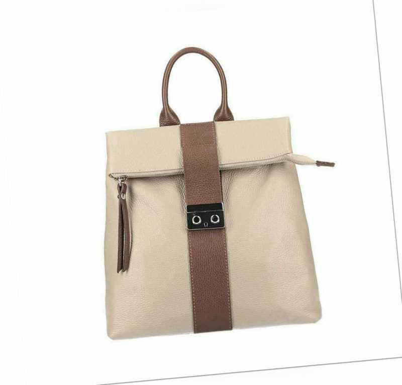 ITALy DAMEN LEDER Shopper 2in1 RUCKSACK TASCHE XL Umhängetasche Schultertasche