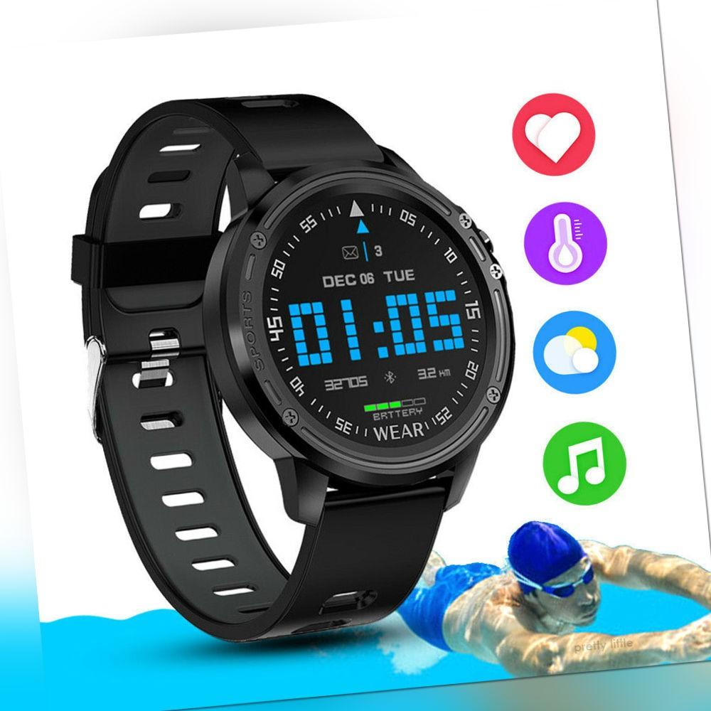 Schwarz IP68 Wasserdicht Smartwatch Sportuhr Blutdruck Tracker Armband Pulsuhr