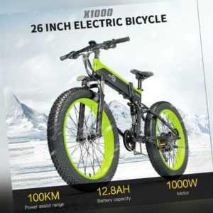 26 Zoll BEZIOR 1000W Klapp Elektrofahrrad Moped E-Bike 12.8AH Fat Bike 45KM/H