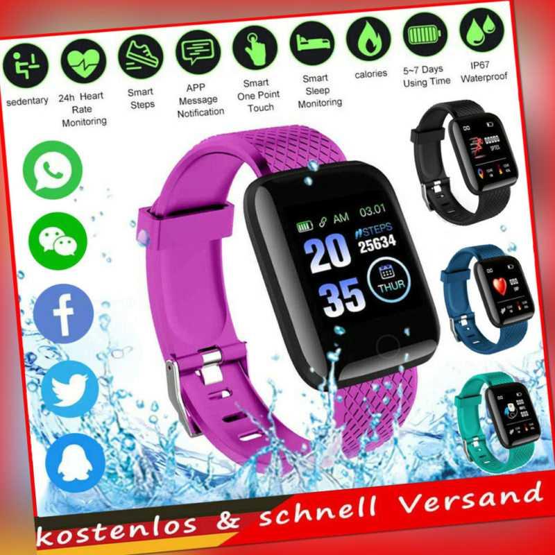 Bluetooth4.0 Smartwatch Armbanduhr Herzfrequenzmessung Blutdruck Fitness Tracker
