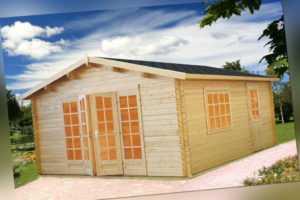 Palmako Gartenhaus IRENE19,0, 380x570 cm, 44 mm Doppelnut, ISO Glas, inkl. Boden