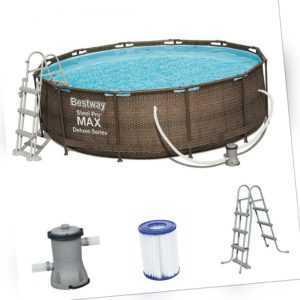 Bestway Steel Pro MAX Frame Rattan Pool 366x100 Set Leiter Pumpe 56709