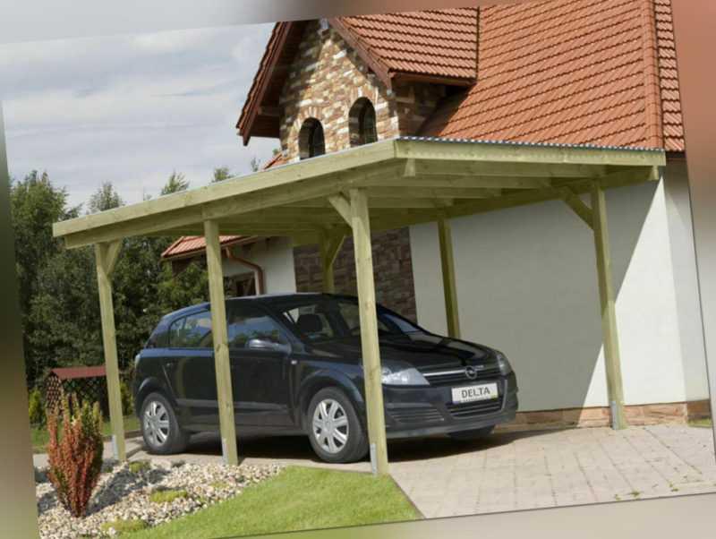 Carport Einzelcarport Holzcarport Garage Holz kdi mit PVC-Dach 3,0 x 5,0 m