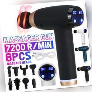 Electric LCD Massage Gun Massage pistole Massager Muscle Massagegerät+8 Köpfe