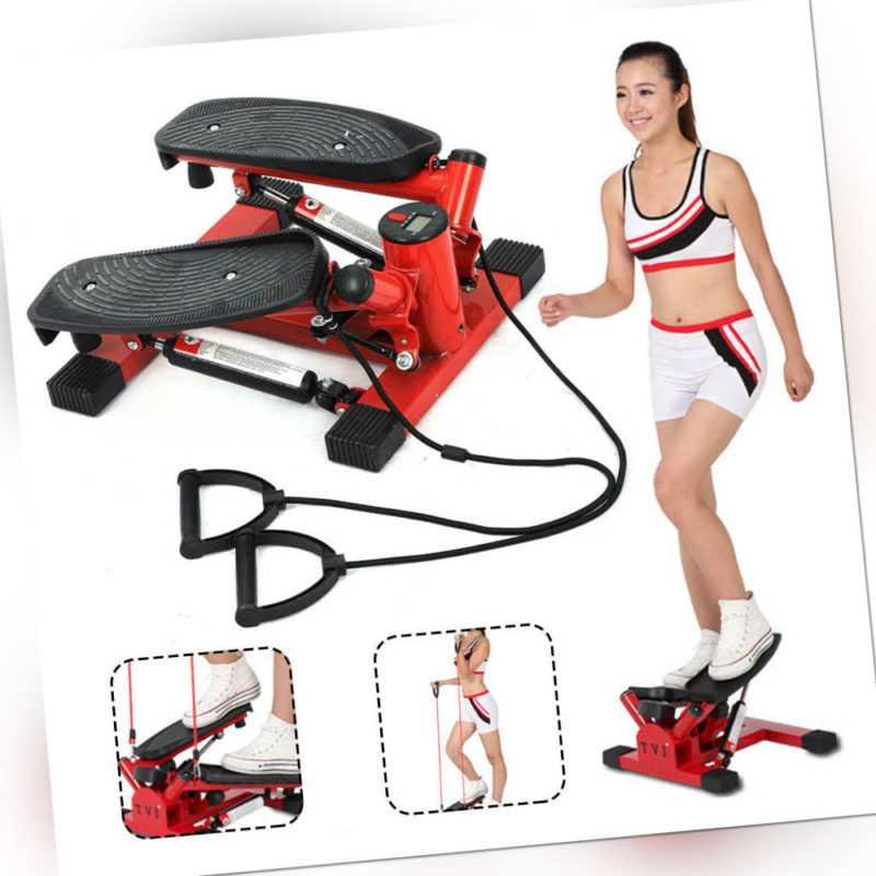 Swing Side Stepper verstellbare Pedalhöhe Mit Expander Fitnessbändern Computer