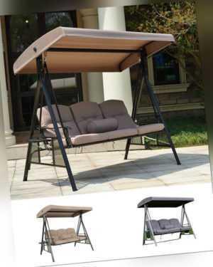 Hollywoodschaukel Schaukelbank Gartenschaukel mit Dach Hängeschaukel 3-Sitzer