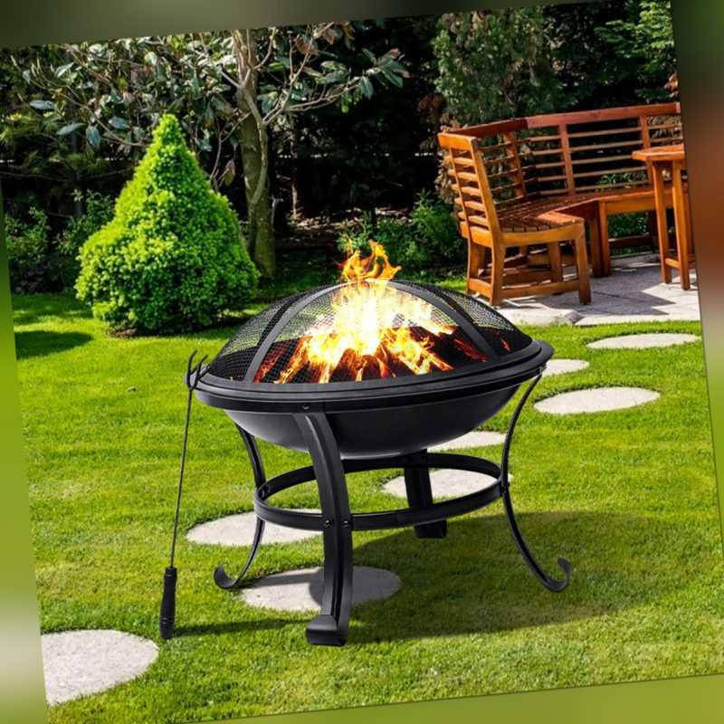 55cm Feuerschale BBQ Grill Feuerkorb Stehlen Funkenhaube Feuerstelle Gartenfeuer