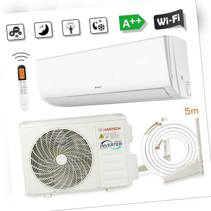 HANTECH 12000 BTU Split Klimaanlage WLAN Klimagerät 3,4 kW Klima ELEGANT + 5m
