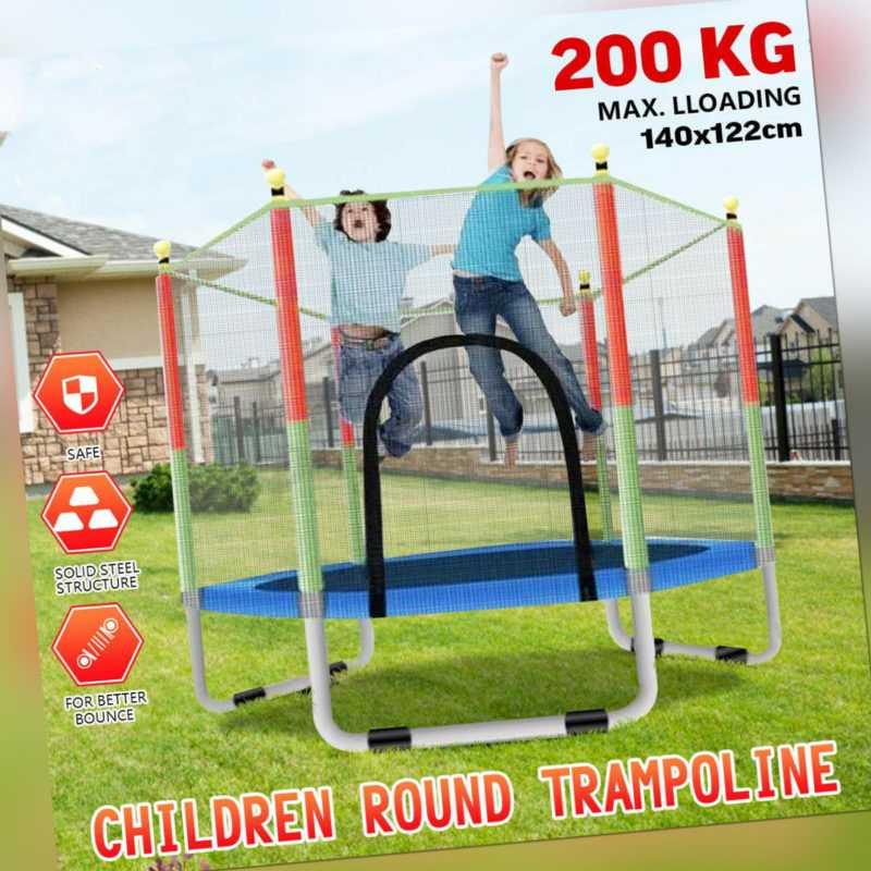 Kinder Trampolin mit Sicherheitsnetz Indoor Jumper Fun Gartentrampolin Ø140cm