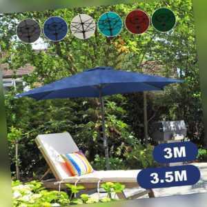 Sonnenschirm Ø3.5m Ø3m UV30+ Terrassen mit Handkurbel Terrassenschirm