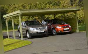 Doppelcarport 600x500 cm Carport Garage Holz Unterstand Flachdach Pfosten 12x12