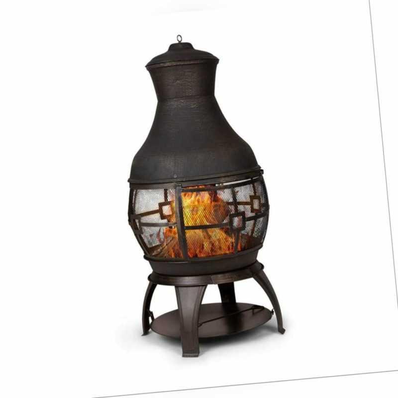 Gartenkamin Terrassenofen Stahl Feuerstelle Feuerkorb rostfrei Gusseisen schwarz