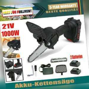 1000W Akku Kettensäge Motorkettensäge Motorsäge Mini Einhandsäge mit 2 Akkus DE