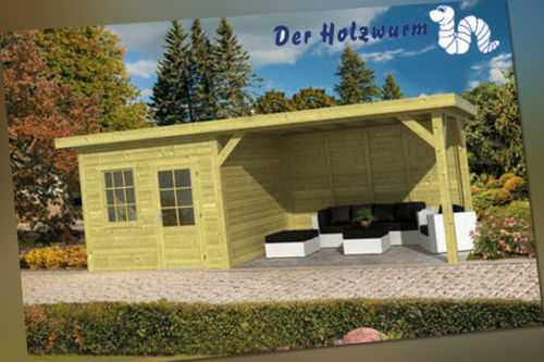 Gartenhaus Leuven ca. 740x350 cm Gerätehaus Gartenlaube Holzhütte Gerätehaus