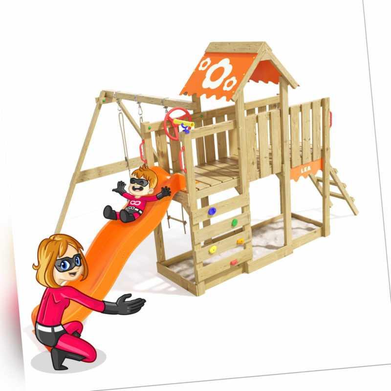 Spielturm Klettergerüst Playful Heroows - Schaukelgestell mit oranger Rutsche