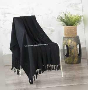 Indisch Schlamm Tuch Sofa Überwurf Schwarz Ethno Baumwolle Wrap