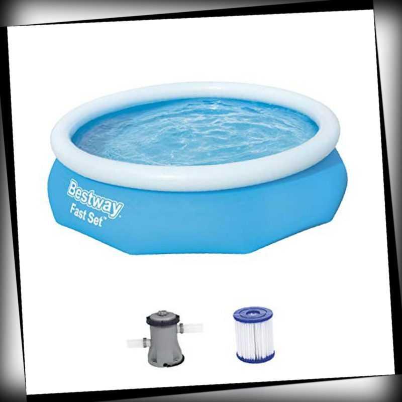 Swimmingpool Schwimmbecken Filterpumpe Bestway Quickup Rund Schwimming Blau OVP