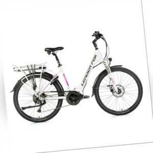 26 Zoll Leader Fox VIVALO City E-Bike Pedelec 8Gang LG 36V 16Ah weiß pink RH50cm