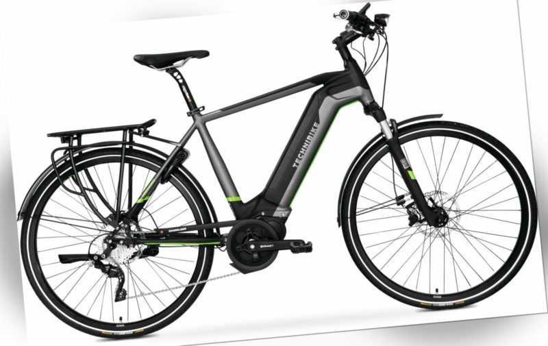 28 Zoll E-Bike TechniBike Trekking Elektro Pedelec 10 Gang Schwarz Grün Gr.XL