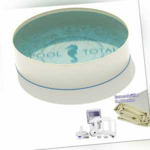 Pool sand Ø 5,00 x Tiefe 1,35m + Skimmer Set Rundbecken 0,8mm Folie 0,7mm Stahl