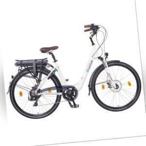 """NCM Munich 28"""" City E-Bike 36V 13Ah 468Wh Akku mechanische Scheibenbremsen, weiß"""