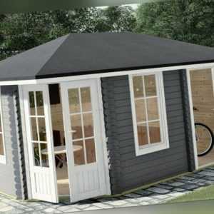 5-Eck Gartenhaus 40mm, 4.5x3M, 5 Eckiges Blockhaus aus Holz, Haag EB40009SL