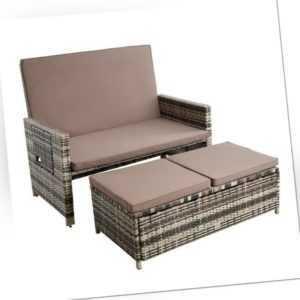 Polyrattan Gartenmöbel Set Sitzgruppe Rattan Gartensofa Lounge Sofa Beige-Braun