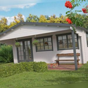 58 mm Gartenhaus ISO 600x600 cm Vordach Terrasse Blockhaus Holzhaus Holz Hütte