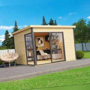 Lasita Maja Premium Gartenhaus DOMEO 1 ISO, 320x320cm 44mm Wände + Boden