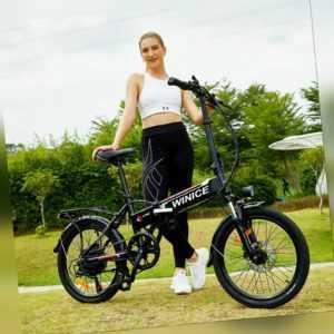WINICE E-Bike Klapprad 20 Zoll Elektrofahrrad Mountainbike Shimano 7-Gang 250W