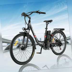26'' Elektrofahrrader 350W Pendlerfahrrad E-Bike Shimano 7-Gang 36V 8Ah Akku
