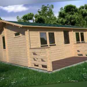 Alpholz Gartenhaus Hakan Holz 44mm Satteldach Gartenhütte Blockhaus Laube