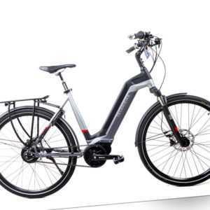 28 Zoll TechniBike City Pedelec E Bike Riemen Antrieb Nu Vinci grau rot Gr.L