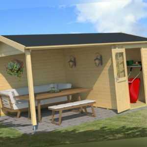 Lasita Maja Gartenhaus WIBO 300 mit Überstand 425x300 cm, 28mm Bohlen