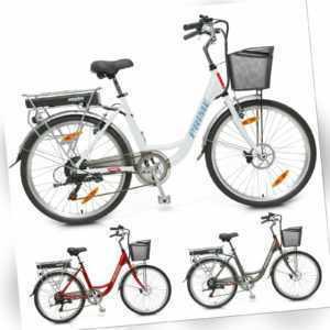 Hecht Prime Damen City Elektrofahrrad E-Bike Elektro Fahrrad 10 Ah LI-Ion Akku