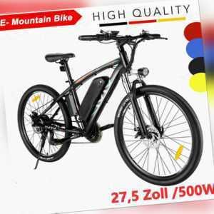 27,5'' Elektrofahrrad 500W Mountainbike E-Citybike 48V/10AH Pedelec Superbike