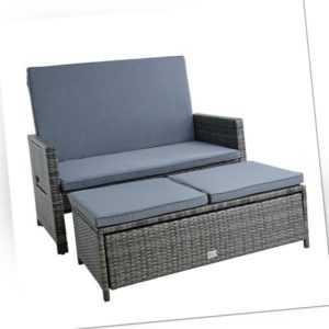 B-Ware Polyrattan Gartenmöbel Set Rattan Gartensofa Lounge Anthrazit-Grau