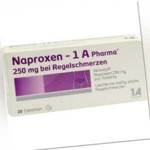 NAPROXEN-1A Pharma 250 mg b.Regelschmerzen Tabl. 20 St PZN 9245016