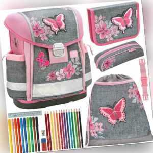 Belmil Schulranzen Set Classy Schmetterling 5teilig Komplett Schultasche Mädchen