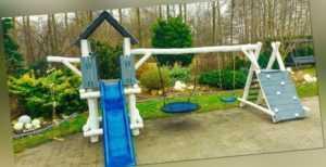 PREMIUM Holz Spielturm mit Kletterturm 2x Schaukel 1x Rutsche Spielhaus PAUL 2