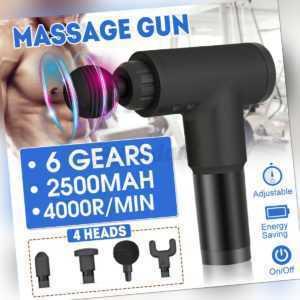 DE Electric Massage Gun Massagepistole Muscle Massager Entspannen 6 Modi 4 Köpfe